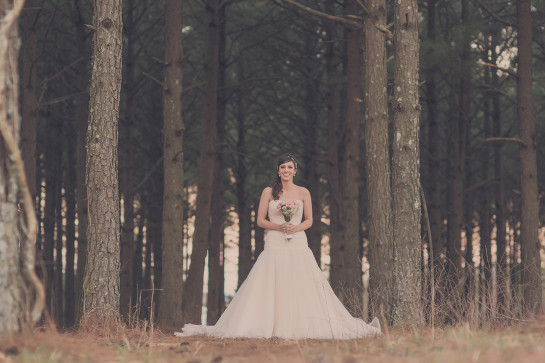 pine trees surrounding bride in big wedding dress