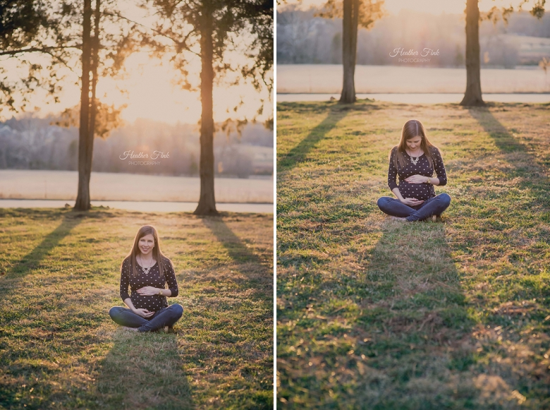 sunset maternity portrait in green grass field
