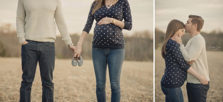 expecting couple holding tom baby shoes together