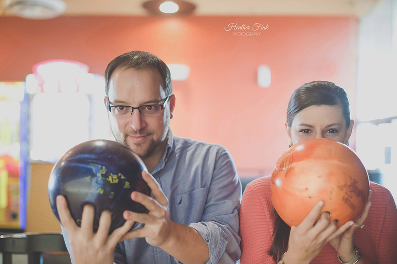 engagement session at park lanes bowling alley