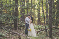 lake norman wedding couple in the woods